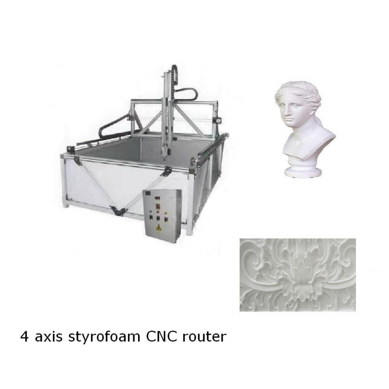 4 axis styrofoam CNC router with extruded aluminium frame
